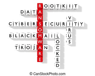 Ransomware crossword puzzle cybersecurity concept flat...