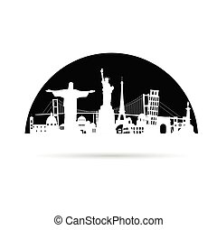 travel symbol with tourist attraction vector on black