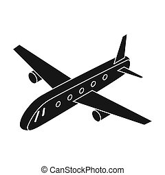 Airplane icon in black style isolated on white background....