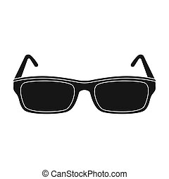 Glasses icon in black style isolated on white background....