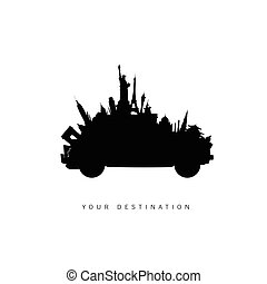 travel car with famous world icon vector silhouette