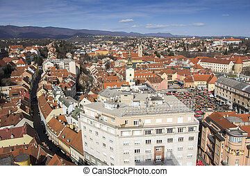 Panoramic view of the Upper town and Dolac market in Zagreb