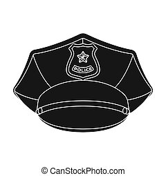 Police cap icon in black style isolated on white background....