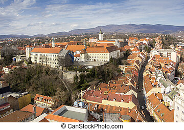 Panoramic view of the Upper Town in Zagreb