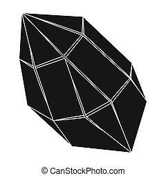 Rough gemstone icon in black style isolated on white...