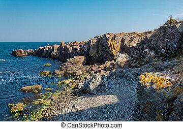 sea view with rock cliff in sozopol, bulgaria