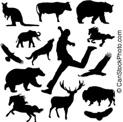 Silhouette animal and man
