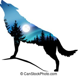 Silhouette of wolf - Silhouette of howling wolf with...