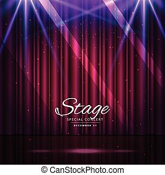 stage with closed curtains and spotlights