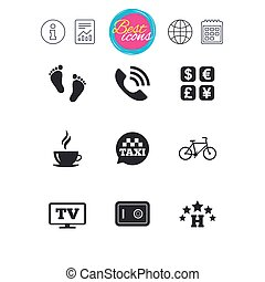 Hotel, apartment services icons. Coffee sign.