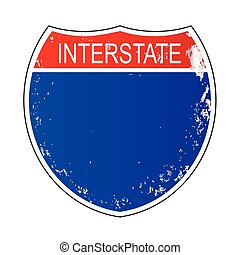 Interstate Sign Isolated - A blank isolated interstate sign...