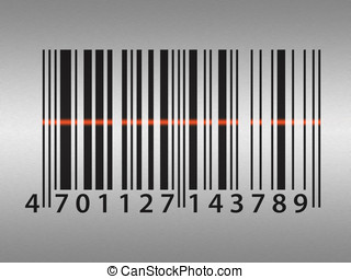 Barcode on stainless steel background - Barcode illustration...