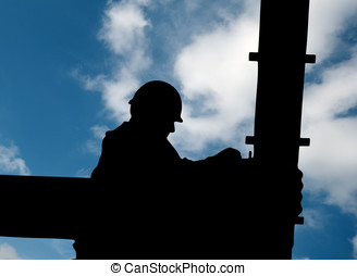 Construction worker - Silhouette of construction worker on...