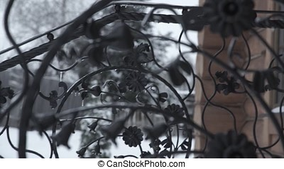 Art forging elements and iron fence. Rough Metal Curly...