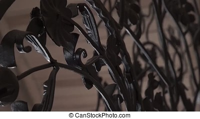 Art forging elements and iron fence. Rough Metal Curly Decorative Elements . Vintage decor Elements. Fence Design. Vintage. Beautiful Fence Design Closeup. Iron