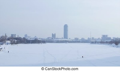 View on new Moscow City skyscrapers in winter. City In...
