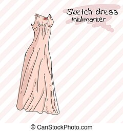 Pink long summer dress with straight cut