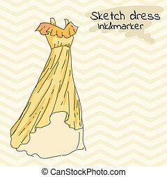 Yellow Long summer dress with frills and straps on retro...