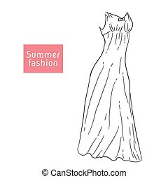 long summer dress, sarafan, Vector illustration