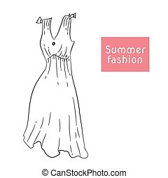 Short summer dress, sarafan. Vector illustration