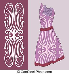 Elegant pattern with an example of applying on a summer dress.