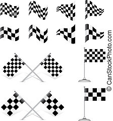 Racing Flags, vector set. Rotating 45 degree
