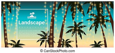 Landscape background with palm trees at tropical beach party 4