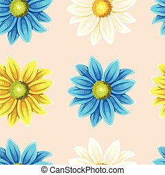 Varicolored chrysanthemums seamless - Bright and varicolored...