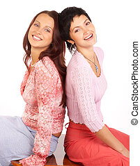 Women friends - Happy young women friends laughing Isolated...