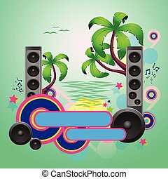 Tropical disco dance green background with speakers