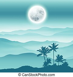 Background with fullmoon, palm tree and mountains in the fog...