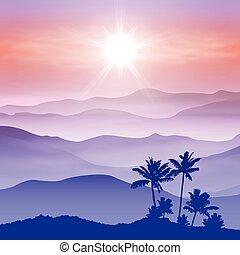 góry, dłoń, mgła, drzewo, tło