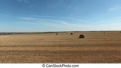 Haystacks in the fields