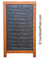Tapas Menu - A Tapas menu in Valencia, Spain isolated on...
