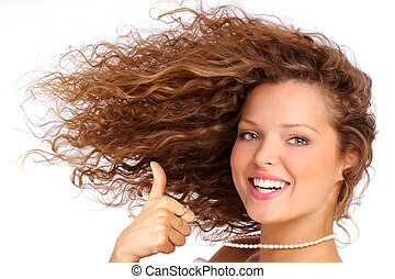 Hairstyle - Pretty girl with great fly-away hair. Over white...