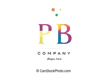 pb p b creative rainbow colors alphabet letter logo icon -...