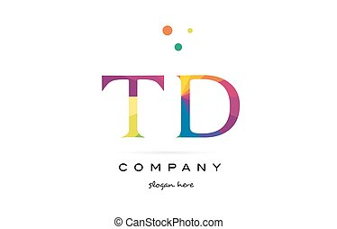 td t d creative rainbow colors alphabet letter logo icon -...