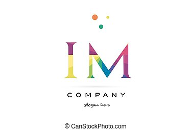 im i m creative rainbow colors alphabet letter logo icon -...