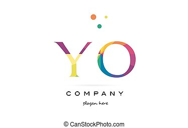 yo y o  creative rainbow colors alphabet letter logo icon