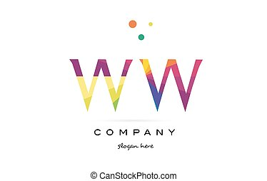 ww w creative rainbow colors alphabet letter logo icon - ww...
