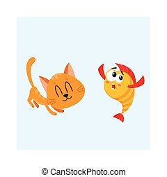 Funny smiling cat, kitten character trying to catch golden fish