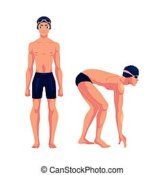 Male swimmer in swimming suit, cap, standing and starting