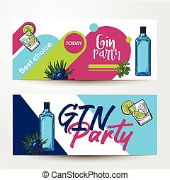 Banners with gin bottle, shot, lime, juniper, place for text...