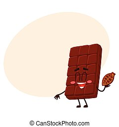 Cute chocolate bar character with funny face, holding cocoa bean