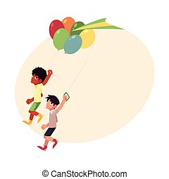 Black African and Caucasian boys running together with balloons, kite