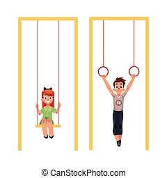 Kids at playground, hanging on gymnastic rings. swinging on...