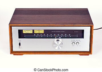 Vintage Stereo Audio Tuner Radio in Wooden cabinet on white...