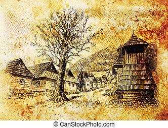 vintage mountain oldtime willage with wooden houses and...
