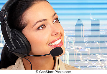 Call Center Operator - Business woman with a headset....