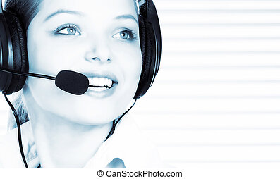 Call Center Operator - Smiling pretty business woman with...